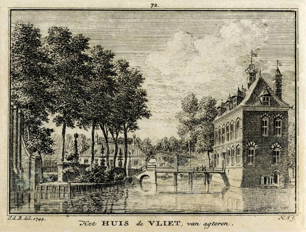 Huis Oudegein in Jutphaas. Tekening Jan de Beijer, gravure Hendrik Spilman (Uit: Het Verheerlykt Nederland, Isaac Tirion, 1745/1774) De gravure vermeldt ten onrechte als naam Huis de Vliet
